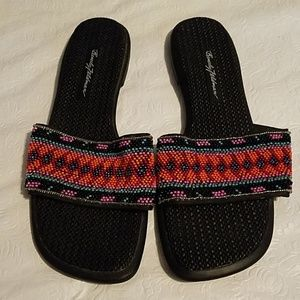Beverly Feldman Multi-Color Beaded Sandals Sz 8M